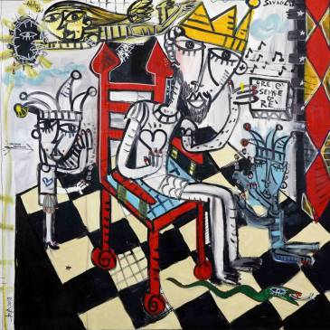 dipinto moderno 100x100 cm arredamento studio re sul trono