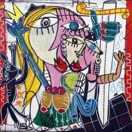 quadro moderno 50x50 la felicità olio su tela