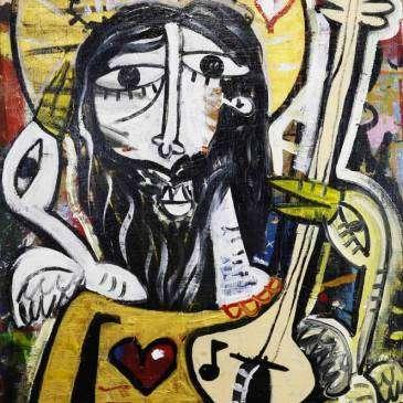 dipinto realizzato su pannello di legno, banco da lavoro dell'artista alessandro siviglia 100x150 cm su tavola colori oro bianco rosso e nero , rappresenta cristo che suona la chitarra