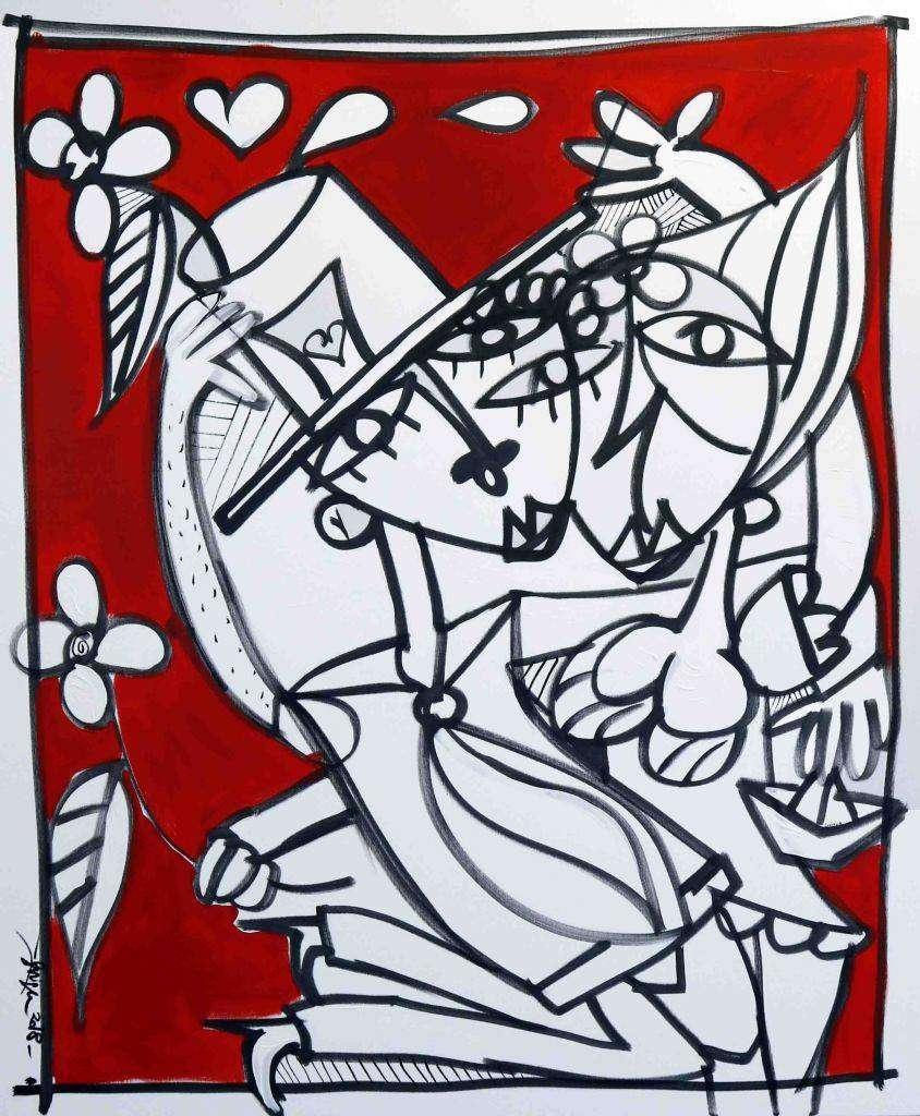 Amore Rosso - Quadro moderno rosso con figure in bianco e nero