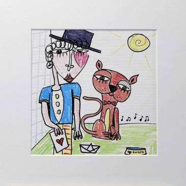 best friends quadro moderno uomo con gatto rosso, uomo con cilindro, arte contemporanea alessandro siviglia