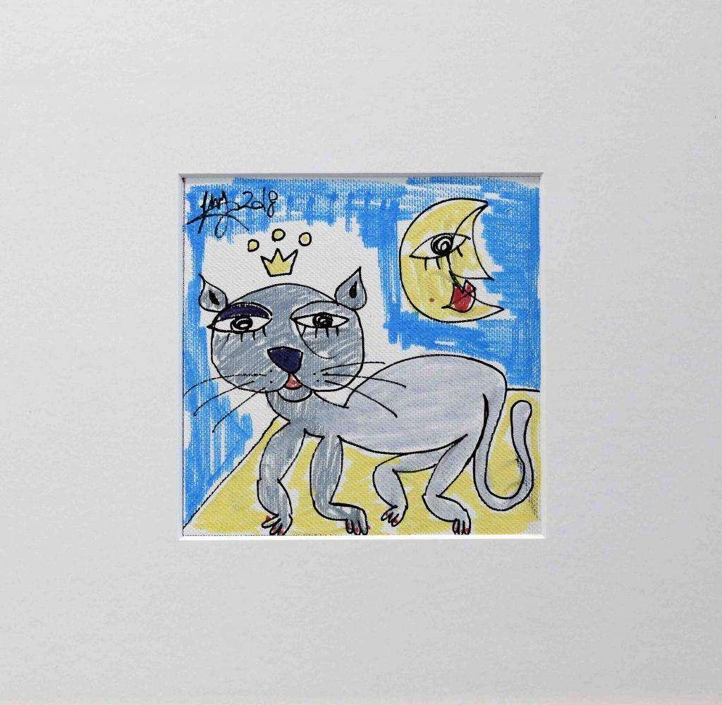 Il Gatto Mangione - Quadro con gatto grigio