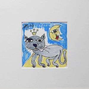 il gatto mangione 20x20 QUADRO CON GATTO CHE TIENE APPETITO, GATTO CHE MANGIA TANTO DIPINTO ARTE CONTEMPORANEA ALESSANDRO SIVIGLIA