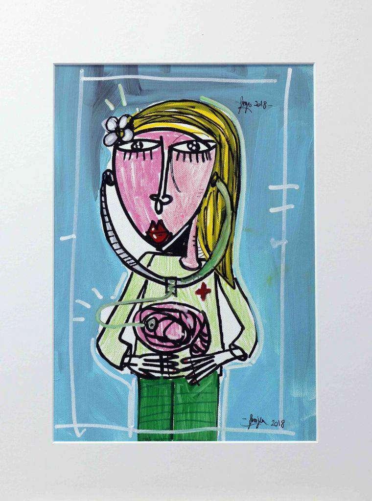 Quadro con Psicologa - dottoressa dipinta a mano