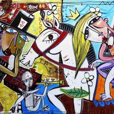 quadro dipinto a mano 100x150 cm arredamento azienda quadri aziendali lo spettacolo