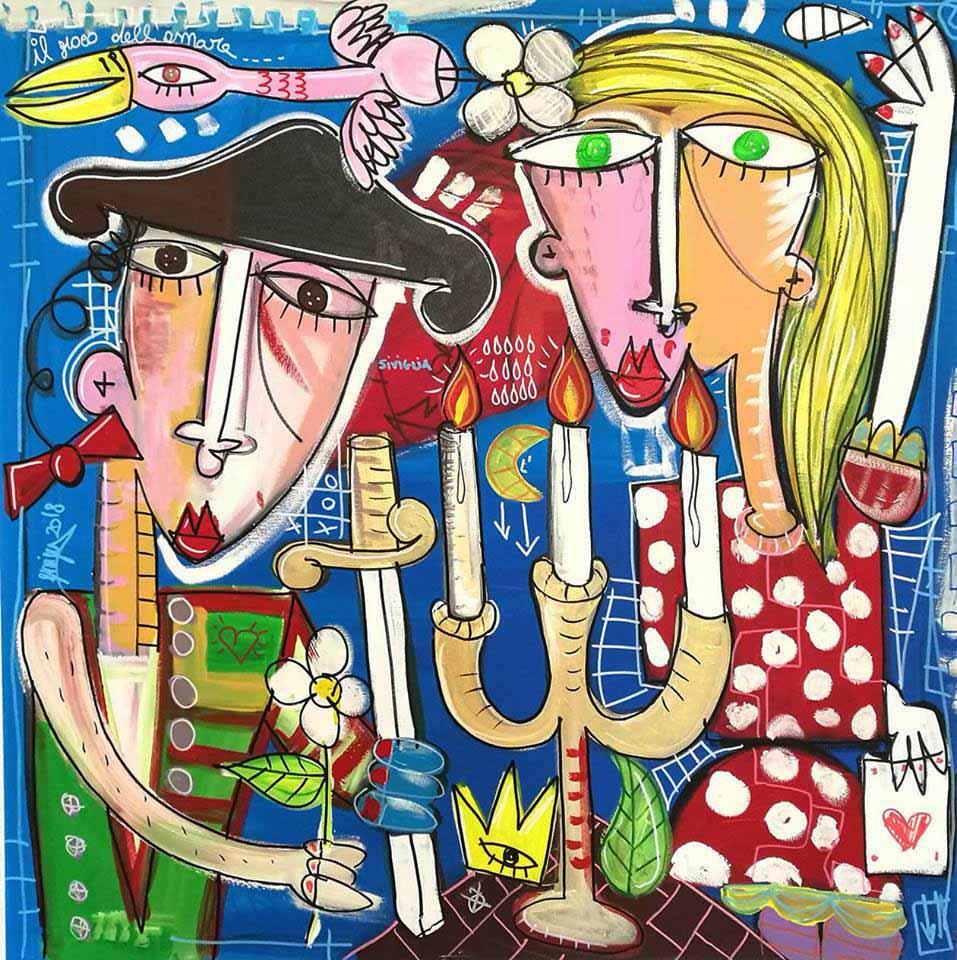 il gioco dell'amore 100x100 cm su tela dipinto originale fatto a mano artista alessandro siviglia