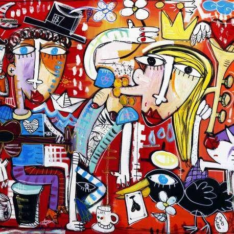Sogni vivaci, dipinto olio su tela, quadri unici dell'artista Alessandro Siviglia, pittore italiano Famoso
