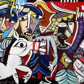 Avanti tutta, quadro moderno battaglia a cavallo, dipinto a mano