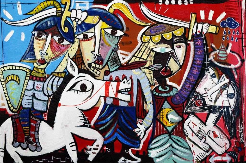 Quadro moderno battaglia a cavallo avanti tutta arte contemporanea