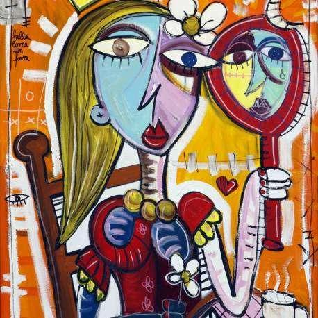 100x80_bella come un fiore - ritratto moderno di donna