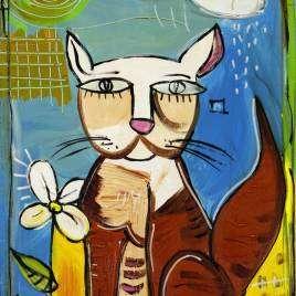 Quadro moderno con gatto e fiore