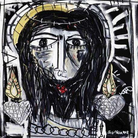 dipinto arredamento antico per la chiesa, volto di cristo, olio su tela