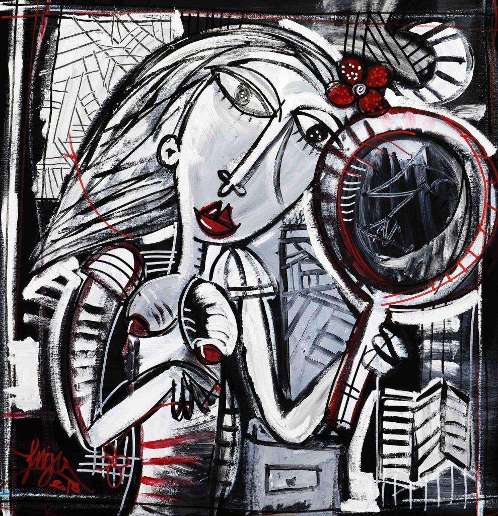guardarsi dentro la donna - quadro moderno con specchio