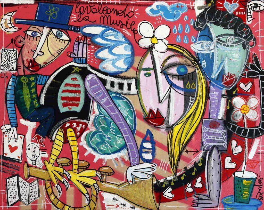 quadro sulla musica- 80x100 cm su tela olio su tela cavalcando la musica, artista Siviglia arte contemporanea