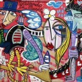 quadro sulla musica 80x100 cm su tela olio su tela cavalcando la musica, artista Siviglia arte contemporanea