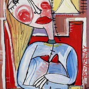 quadro moderno donna in attesa