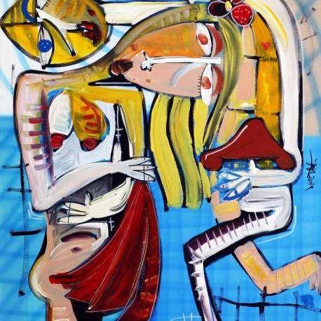 quadro moderno in stile cubista semi-astratto