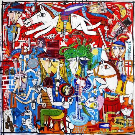 tela grandissima, scena di battaglia a cavallo molto complessa, con la medusa al centro del quadro, arredamento hotel e alberghi in Sicilia