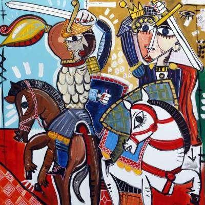 quadro moderno dipinto olio su tela arredamento studio legale quadri moderni avvocato Guerra e Pace 100x100