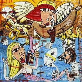 quadro moderno il purgatorio dipinto a mano su tela per la casa moderna arredamento 70x70 cm