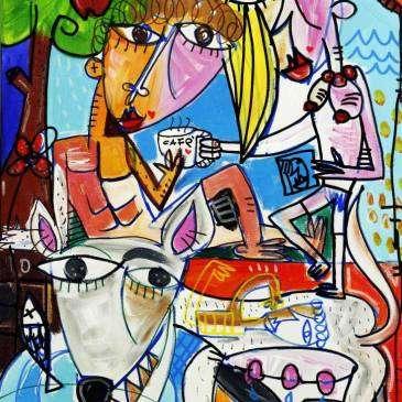 Dipinto moderno che raffigura l'eden dove vivevano Adamo ed Eva in perfetta sintonia prima del peccato.