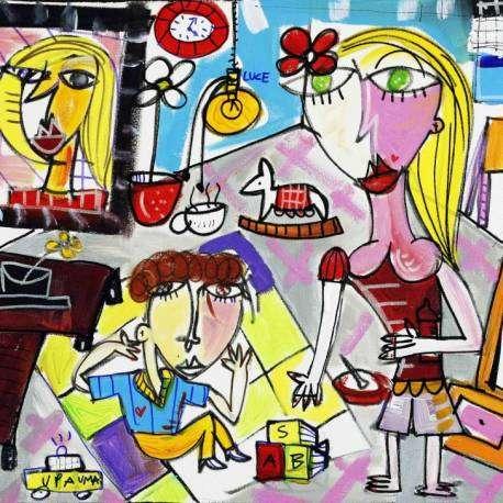 Quadro moderno autoritratto della mia famiglia, dipinto moderno con quadro con cornice, televisore a plasma, tappeto colorato, bambino che gioca sul tappeto, mamma che gioca con il figlio. quadro moderno arredamento casa e sala da pranzo