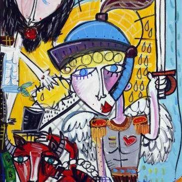 il soldato di Cristo 70x50 dipinto moderno quadro con angelo soldato michele, protettore delle forze dell'ordine