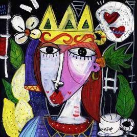 quadro moderno testa di moro donna con tazza del caffè, quadri moderni simboli della sicilia