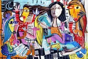 quadro moderno donne libere, quadro sulla violenza, femminicidio
