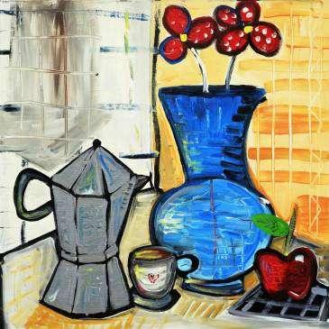 quadro moderno con caffettiera, tavolo imbandito con pietanze, colazione, arredamento b&b, quadri moderni per arredare la cucina