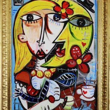 Monaluna 83x63 cm su tela dipinto unico con colori vivaci ritratto di una donna con la luna