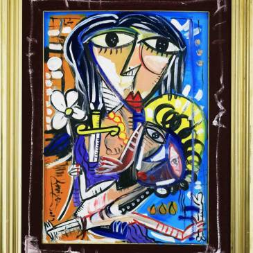 giovane maternita_100x80 quadro moderno donna con bambino olio e acrilico su tela
