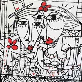 la semplicità_54x52,5 Quadro moderno olio su tela in bianco e nero con tocchi rossi, Alessandro Siviglia arredamento camera da letto