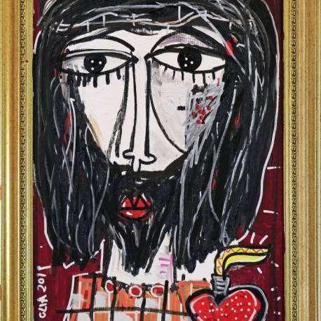 Dipinto effetto antico, ritratto religioso olio su tela con cornice antiquariato colore oro. Antico quadro religioso dipinto a mano olio e acrilico su tela, arte passione di Cristo, artista Alessandro Siviglia.