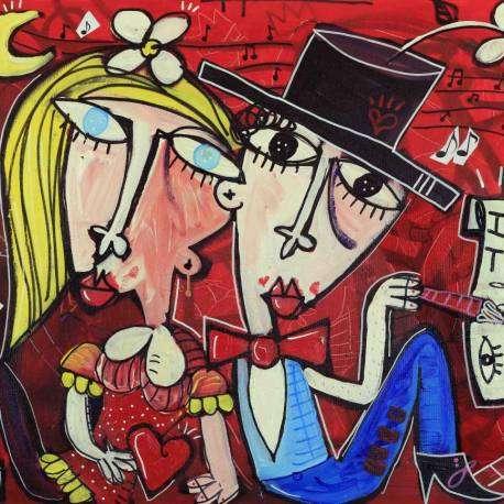 Dipinto pieno di amore e passione dal titolo io amo te. il quadro misura 58x68 cm è un fuori misura dell'artista contemporaneo Alessandro Siviglia. Quadro moderno dallo sfondo forte e acceso di colore rosso, rosso come la passione e l'amore che è stato realizzato.