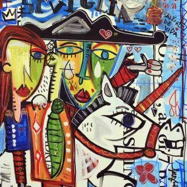 Quadro moderno su tela con pennellate materiche con fondo azzurro, dipinto olio su tela con acrilico, dipinto figurativo che rappresenta una coppia di amanti a cavallo che galoppano tra le strade di Sevilla.