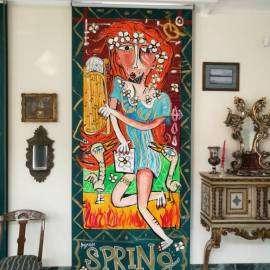le quattro stagioni-tenda da sole dipinta a mano-decorazione esclusiva-opera d'arte