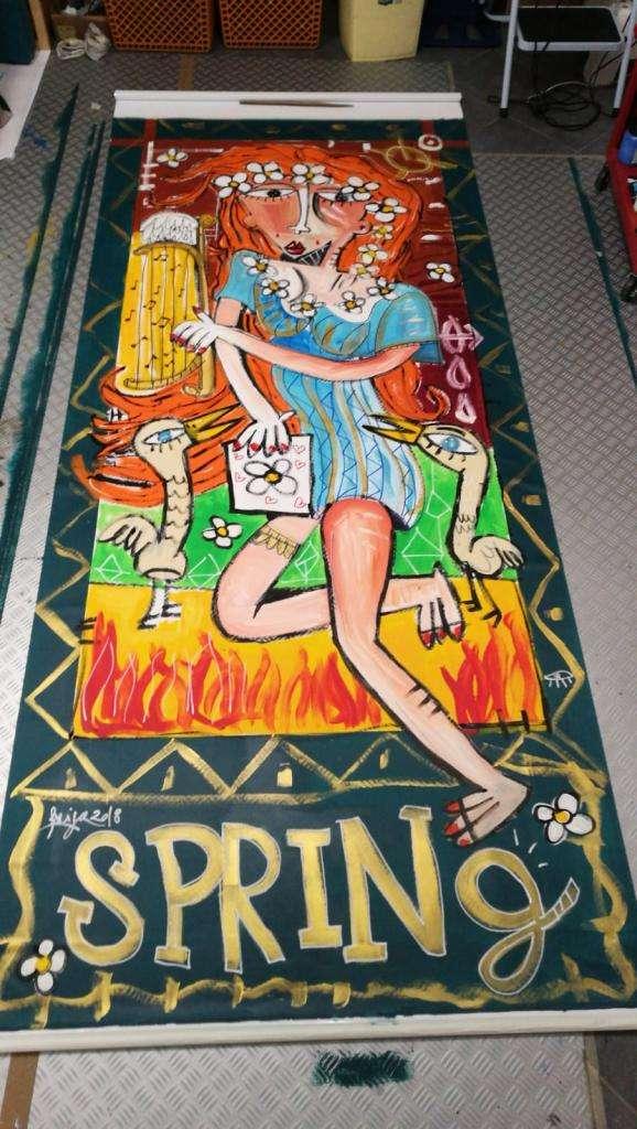 tenda decorativa quattro stagioni-primavera-opera dipinta a mano