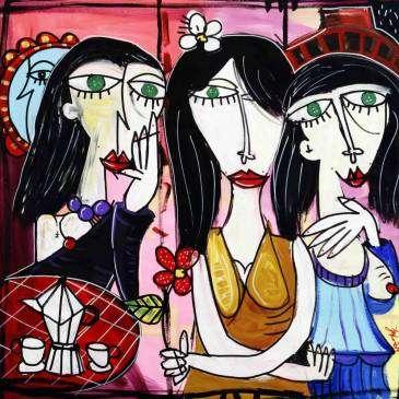 Le Espressioni, quadro moderno dipinto a mano su tela