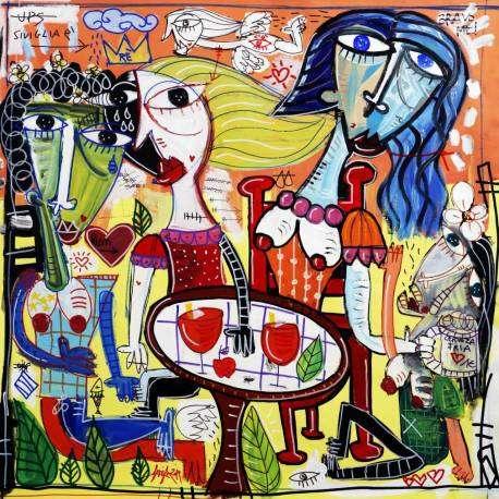 Spuma di Champagne è un dipinto su tela con olio e acrilico realizzato da Alessandro Siviglia, quadro moderno che rappresenta una scena di un aperitivo, una festa che si svolge intorno ad un bellissimo tavolo di legno con bellissime coppe di champagne e vino costosissimo, intorno al tavolo a festeggiare ci sono bellissime donne e uomini di colori diversi che festeggiano e si ubriacano senza contare il tempo. bellissima scena di festeggiamenti che è rappresentata in questo dipinto, il quadro moderno può essere usato per arredare diversi luoghi della casa come la cucina, salotto, soggiorno. Il dipinto è ideale per arredare bar, hotel, ristoranti proprio per la scena rappresentata. quadro moderno aperitivo con Spuma di Champagne.