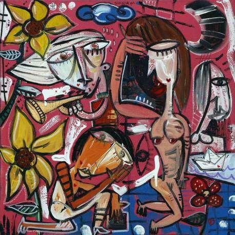 50×50 I Pensieri e le Donne olio su tela pezzo unico originale