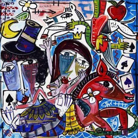 Dipinto moderno che rappresenta il circo, quadro moderno con scene di vita da circo con acrobati, pagliacci, e cavalli.