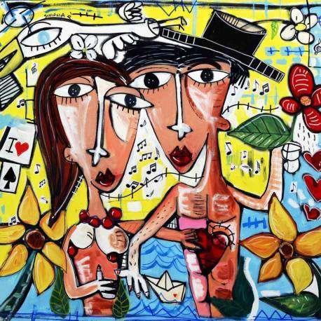 QuaDro-moderno-con-molto-giallo-arte-contemporanea-ridere-insieme-olio-su-tela-Alessandro-Siviglia