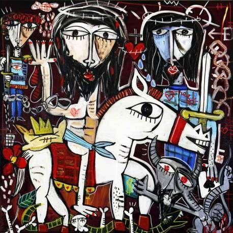 Dipinto originale su tela 100x100 cm dipinto a mano con olio e acrilico Alessandro Siviglia