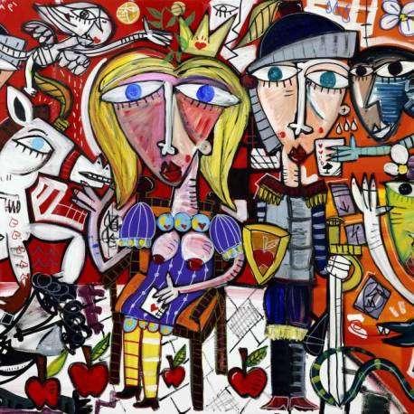 Le Guardie, dipinto moderno per regalo di natale originale