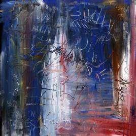 quadro moderno astratto con rosso bianco e azzurro
