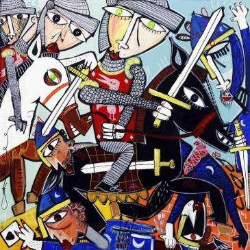 La battaglia di cocentaina, quadro moderno con soldati in armatura