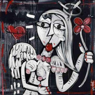 quadro moderno in bianco e nero, ritratto di un angelo con fiore rosso