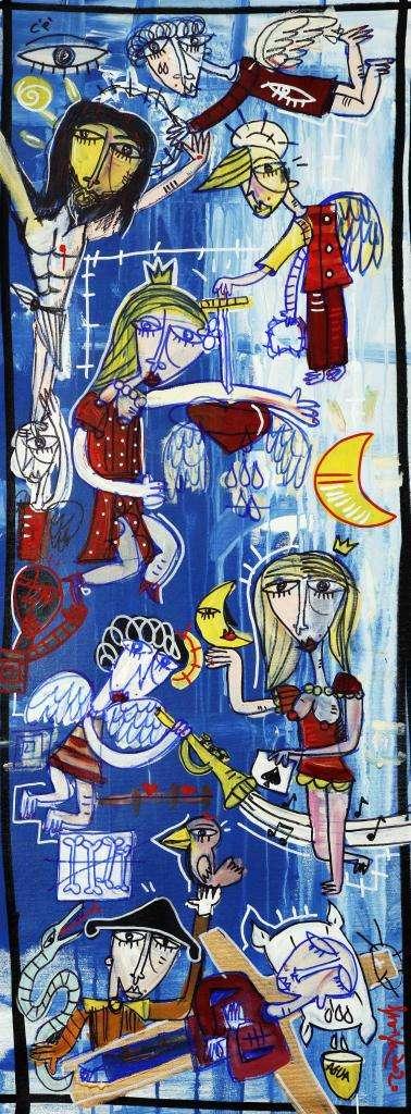 Quadro bellissimo, il fondo di questo dipinto è realizzato con blù cobalto, azzurro, celeste e grigio, quadro moderno dai colori freddi e caldi nello stesso dipinto. Quadro moderno che rappresenta la sofferenza dell'uomo che viene terminata dalla mano divina di Dio.