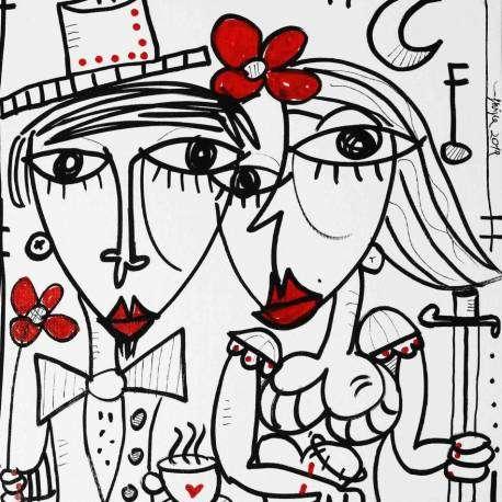 Mari Et Femme è il titolo dell'opera dipinta a mano dell'artista Alessandro Siviglia. Questo dipinto è stato dedicato agli innamorati, uomini e donne che si amano. L'artista ha dedicato molte suo opere all'amore e come ogni San Valentino dedica dei bellissimi quadri moderni alle coppie che si amano e vogliono regalarsi un dipinto unico e bello per arredare il loro nido d'amore come può essere la casa oppure la camera da letto. Siviglia ha dedicato questa opera alle coppie che si vogliono bene che sono pronte a stare insieme nonostante le battaglie che ci mette davanti la nostra strada la vita. '' dico a voi amatevi, l'amore non è solo il battito del cuore piu' veloce ma anche sapersi venire incontro nonostante le avversità.